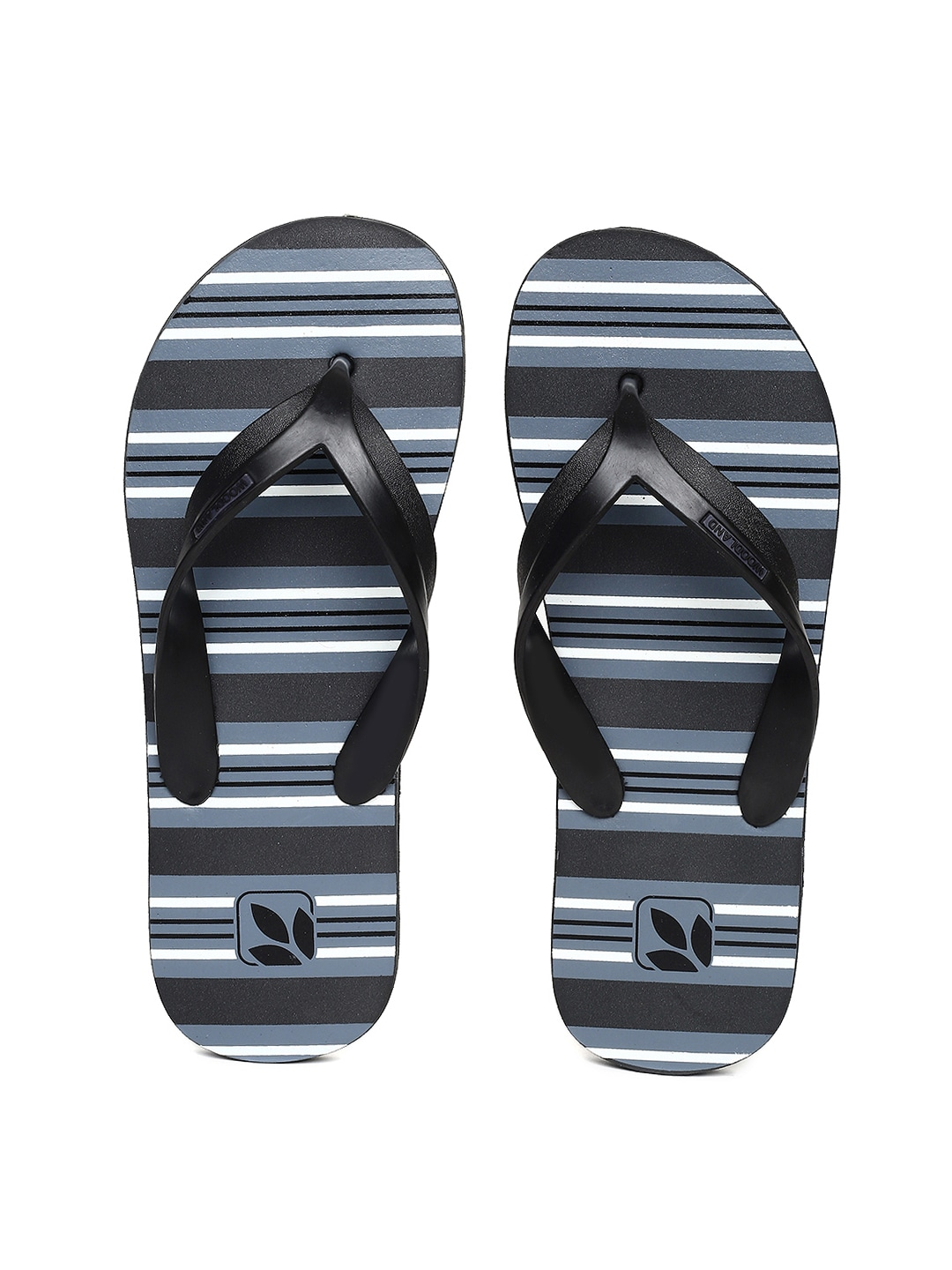 Black & Blue Striped Thong Flip-Flops