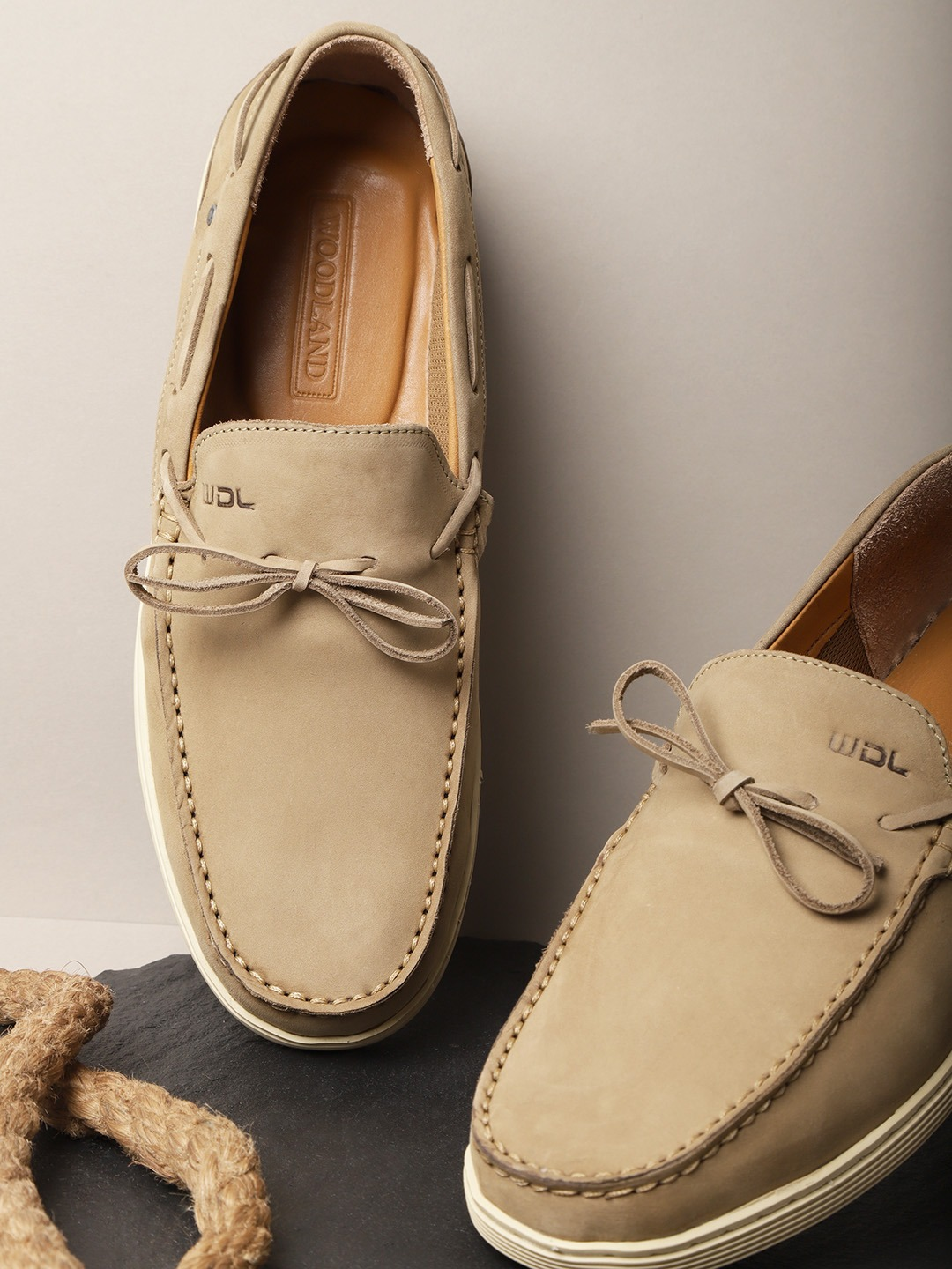 Khaki Solid Leather Driving Shoes