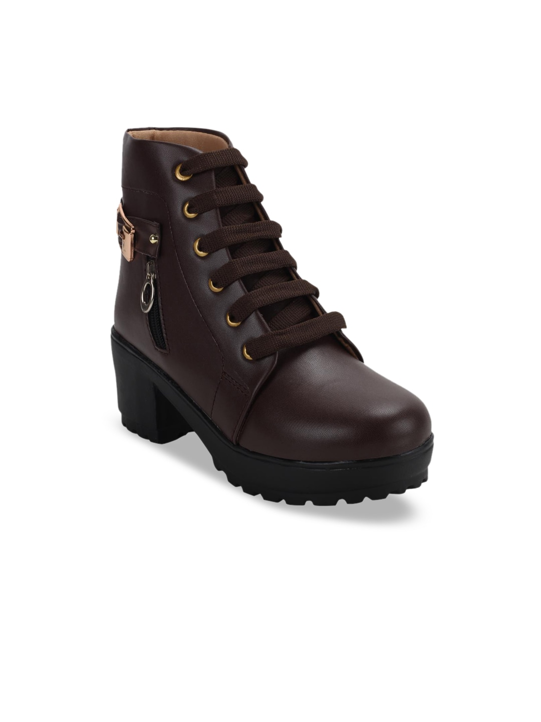 Brown Solid Heeled Boots