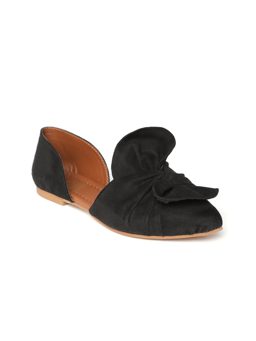 Black Solid Leather Ballerinas