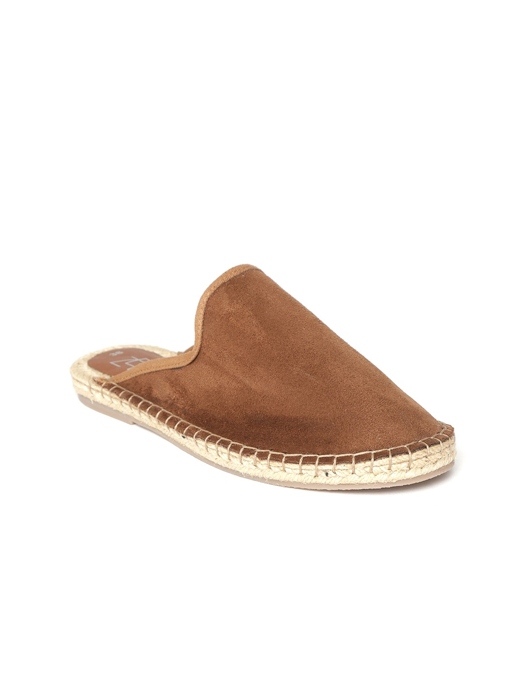 Brown Solid Mules