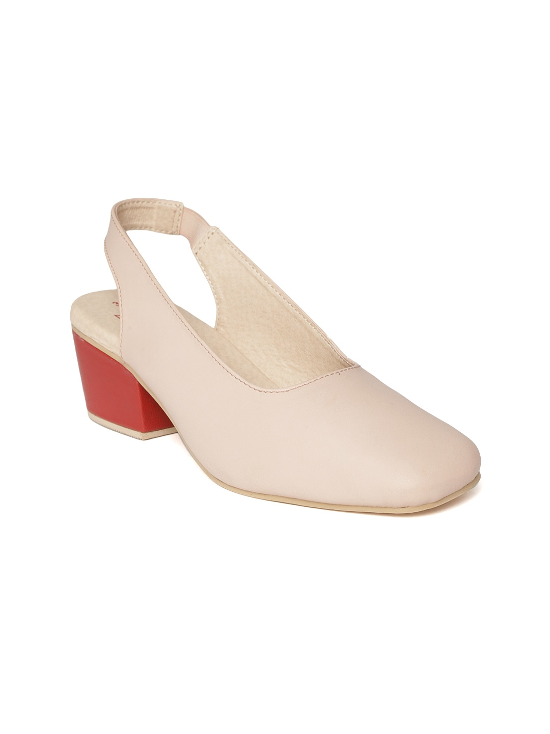 Peach-Coloured Solid Pumps