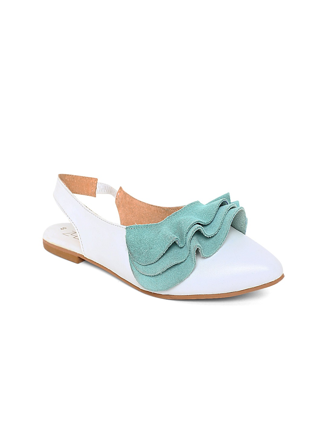 White & Green Colourblocked Leather Flats