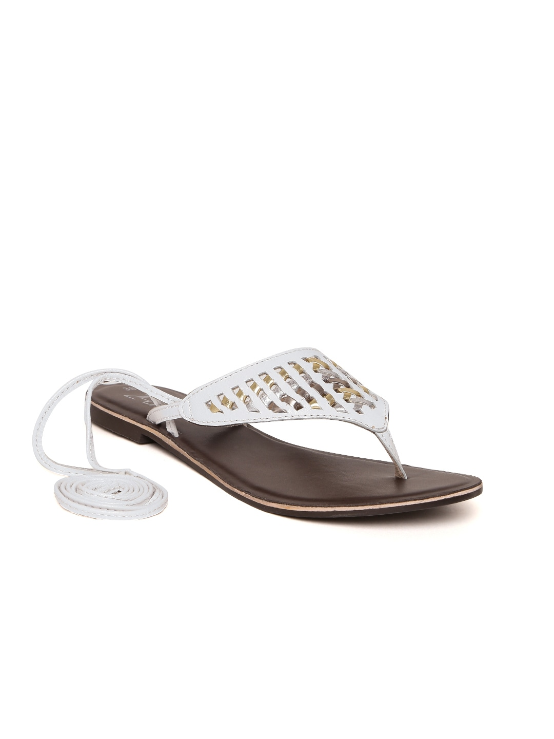 White Solid Leather Open Toe Flats