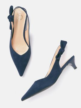 Navy Blue Solid Pumps