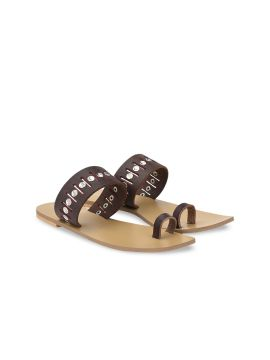 Brown Embellished Leather One Toe Flats