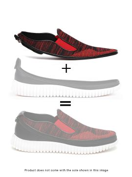 Red Mocassino Knit Skin of Customizable Shoes