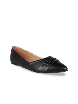 Black Solid Ballerinas With Lace Cut Detailing