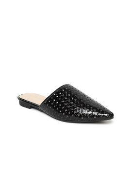 Black Solid Cut-Out Mules