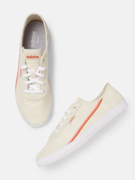 Cream-Coloured & Orange Courtflash X Sneakers