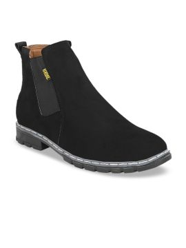 Black Solid Synthetic Suede High-Top Flat Boots