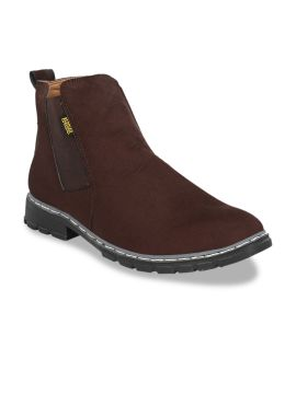Brown Solid Synthetic Suede High-Top Flat Boots