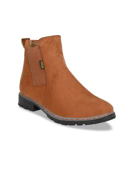 Tan Brown Solid Synthetic Suede High-Top Flat Boots