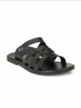Black Leather Comfort Sandals
