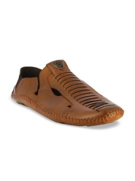 Brown Leather Shoe-Style Sandals
