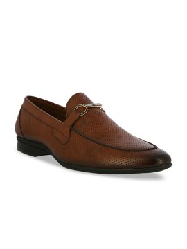 Brown Perforated Horsebit Loafers