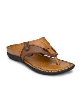 Tan & Brown Colourblocked Thong Flip-Flops