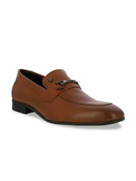 Tan Brown Leather Horsebit Loafers