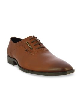 Tan Brown Solid Formal Leather Oxfords