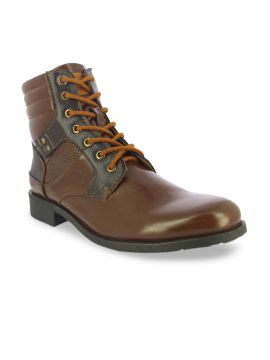 Tan Brown Solid Synthetic Leather High-Top Flat Boots