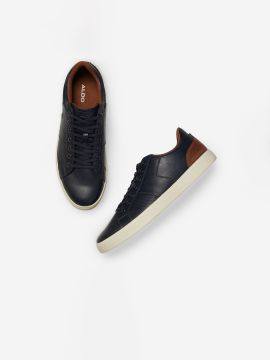 Navy Blue & Brown Colourblocked Sneakers