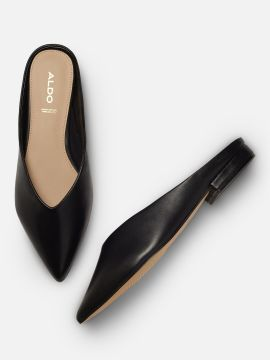 Black Solid Leather Mules