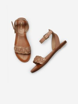 Brown Solid Leather Open Toe Flats