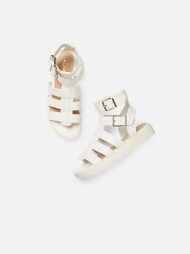 White Solid High-Top Gladiators