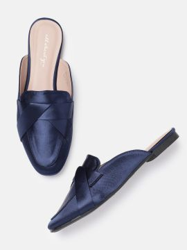 Navy Blue Solid Mules