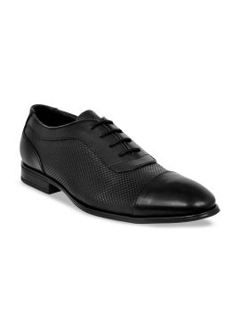 Black Textured Leather Formal Oxfords