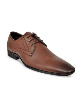 Brown Solid Formal Leather Derbys