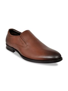 Brown Solid Formal Slip-On Leather Shoes