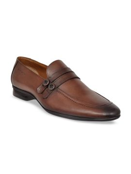 Brown Solid Genuine Leather Formal Loafers