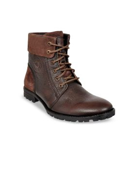 Brown Solid Genuine Leather Mid-Top Flat Boots