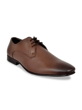 Brown Solid Leather Formal Derbys