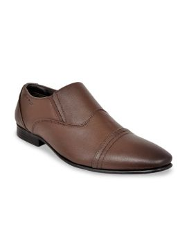 Brown Solid Leather Formal Slip-On Shoes