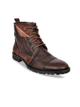 Tan Brown Colourblocked Genuine Leather Mid-Top Flat Boots