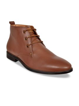 Tan Brown Solid Formal Genuine Leather Boots