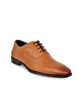 Tan Brown Solid Leather Formal Oxfords