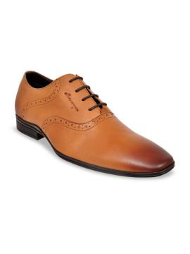 Tan Brown Solid Leather Oxfords
