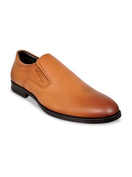 Tan Solid Formal Slip-On Leather Shoes