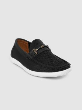 Black Woven Design Loafers