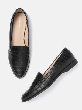 Black Croc Textured Loafers