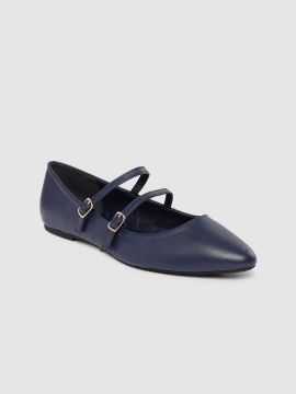Blue Solid Leather Ballerinas