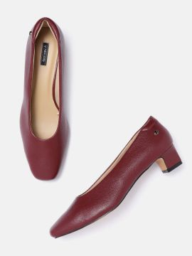 Burgundy Solid Pumps