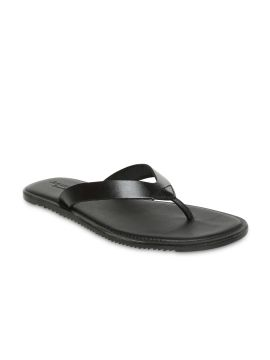 Black Genuine Leather Sandals