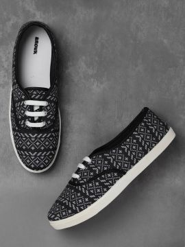 Black & Off-White Printed Sneakers