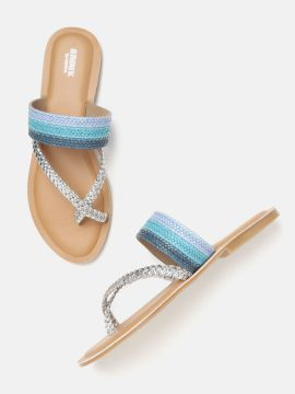 Silver-Toned & Blue Braided One Toe Flats