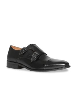 Black Formal Leather Monk Shoes