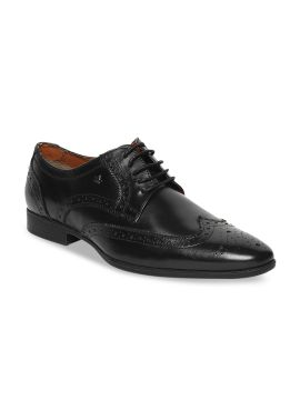 Black Solid Leather Brogues